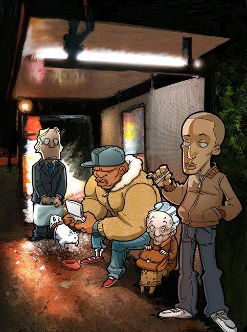 Arret du bus by Blondin et djoz