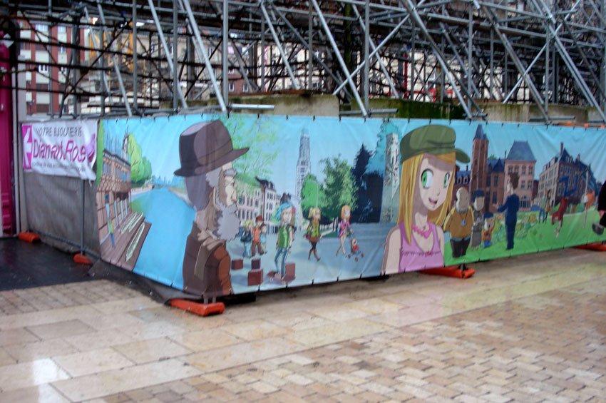 fresque sur bache microperforée amiens centre ville quadrichromie by josé mauduit et gregory audegond