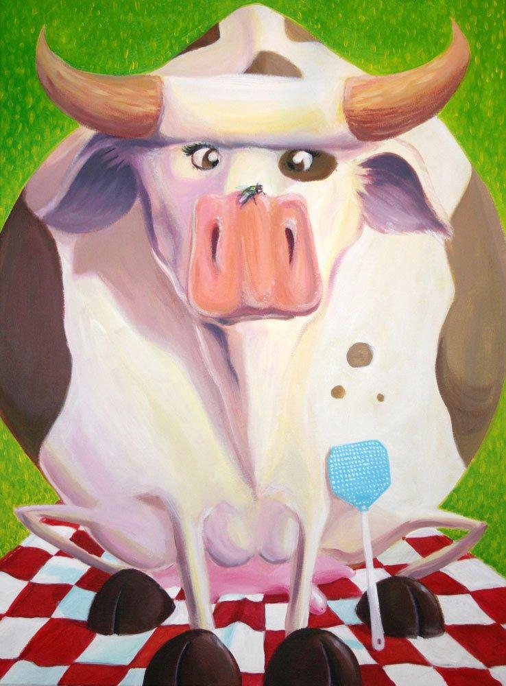peinture la vache qui meuh par Djoz graphiste indé