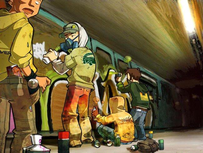 Metro graffiti paris by djoz et greg