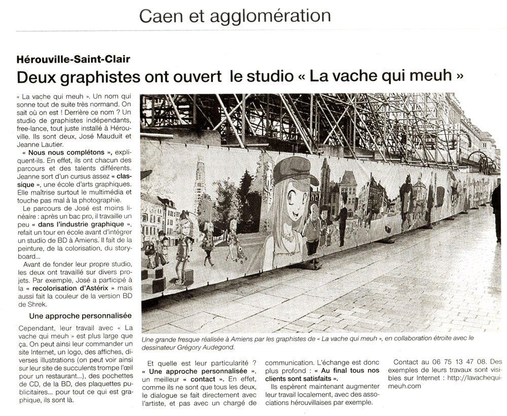 article paru dans ouest-france sur le studio lavachequimeuh