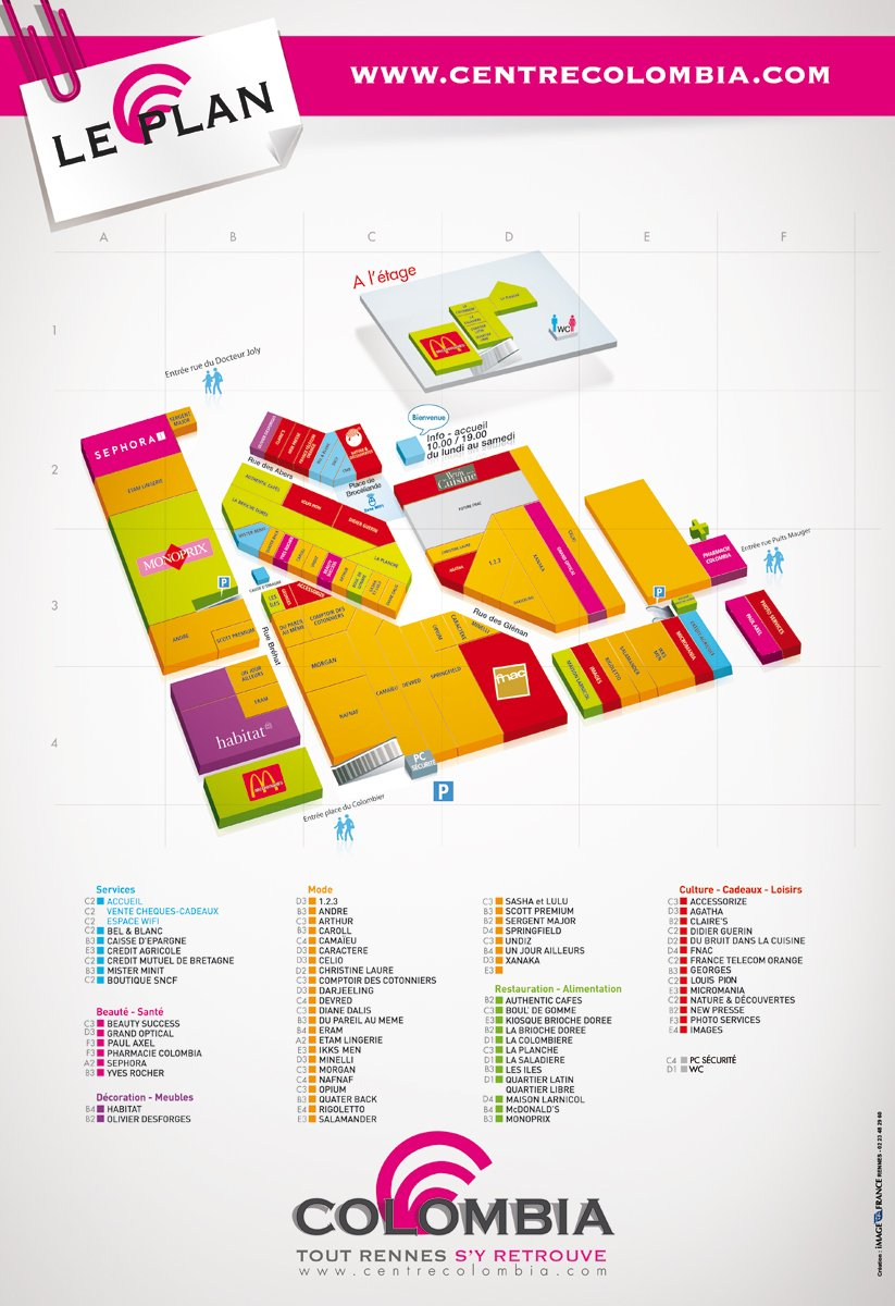 plan des differentes boutique d'un centre commercial by djoz
