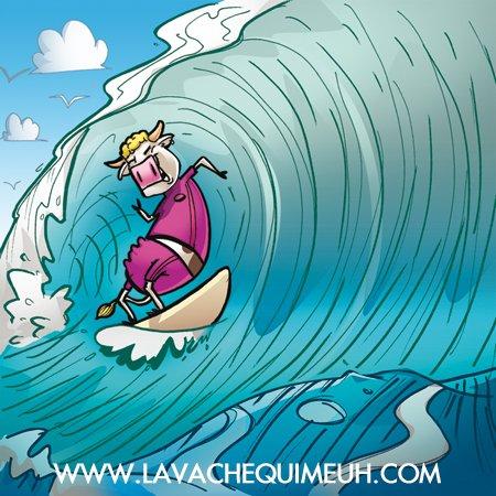 la vache qui surf